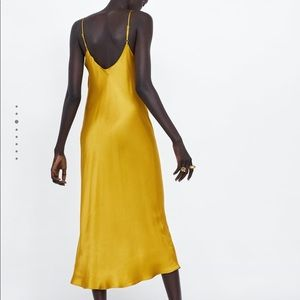 Zara Dresses - Zara mustard satin midi dress- size Small